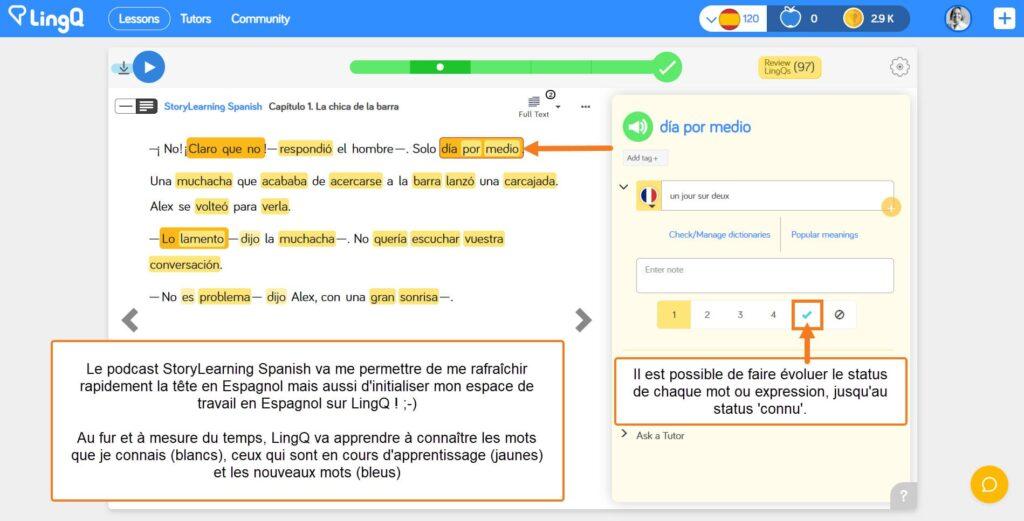 La recherche des mots de vocabulaire se fait automatiquement dans les dictonnaires en ligne