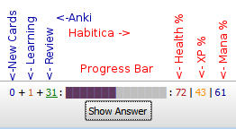 Anki Habitica : signification des indicateurs de la barre de progression