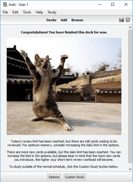 L'extension pour Anki Kitten Rewards ajoute des photos sympas de chats à vos écrans de félicitation