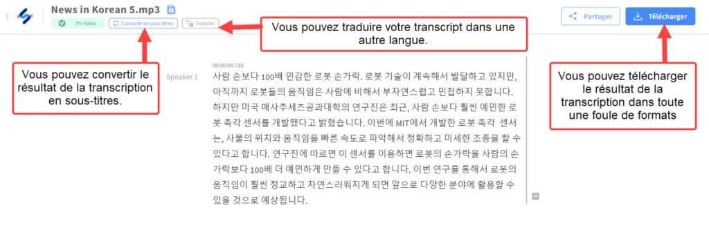 Happy Scribe : une fois les petites corrections de transcription effectuées vous pouvez télécharger le résultat dans différents formats, convertir la transcription en sous-titres ou la traduire dans une autre langue