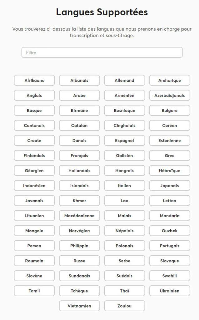 Happy Scribe : langues supportées pour la transcription et le sous-titrage