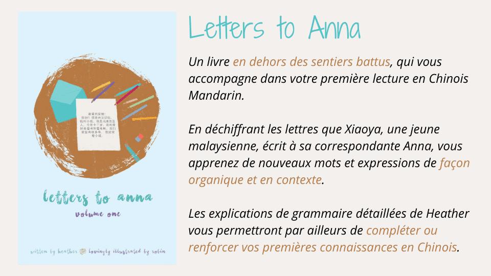 Letters to Anna : une première lecture sympathique pour les débutants en chinois